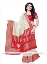Traditional Wear Cream And Red Colour Kanchipuram Silk Saree Wholesale