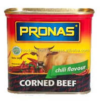 Corned Beef 340 g Canned Meat Pronas Chili / Spicy