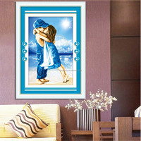 Lovely Visual Perception DIY The childhood of sea Precise printing drawing bed room decoration blue Cross Stitch Embroidery Kits