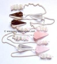 Mix Quartz 12 faceted Cips Pendulums