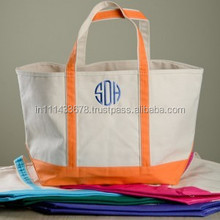 Promotional Tote Bag/ OEM production canvas tote bag/ Large Heavy Cotton Boat Tote with Zipper