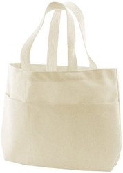 Custom canvas tote bag with outside pockets