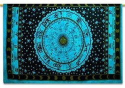 """Zodiac Tapestry Indian Cotton Tapestry Twin Size Sheets Wall Hanging Hippie 84"""" X 56"""""""