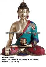 El señor buda en bhumisparsha mudra( en plata tono con incrustaciones de marquetería)