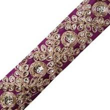 Purple Fabric Royal Style Trim Sequin Bullion Apparel Sewing Craft Lace Border FT248E