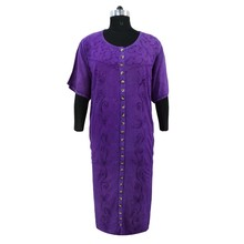 Full Sleeve Rayon Dress Embroidered Long Maxi Purple Dress Boho Gown Size XXXL