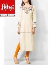 Fashionable Shringle Off White Multi Color Embroidered Ladies Long Kurtis 2015