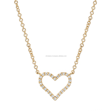 18k Solid Yellow Gold Link Chain Pave Diamond Open Heart Pendant Necklace Gold Diamond Jewelry Exporter