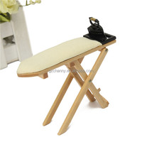New Delicate little Small Wooden Plate 1/12 Scale Dolls House Furniture Miniature Iron Ironing Board Cover Clip Set best price