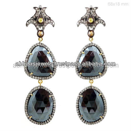 Black spinel gemstone long earrings wholesale 14k yellow for Wholesale 14k gold jewelry distributors