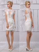 Short Lace Illusion Neckline Back Keyhole Wedding Dress With Short Sleeves