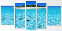 Island, Water, Fishes Canvas Wall Art Print Set for Home Decoration 5 Pcs/set Total