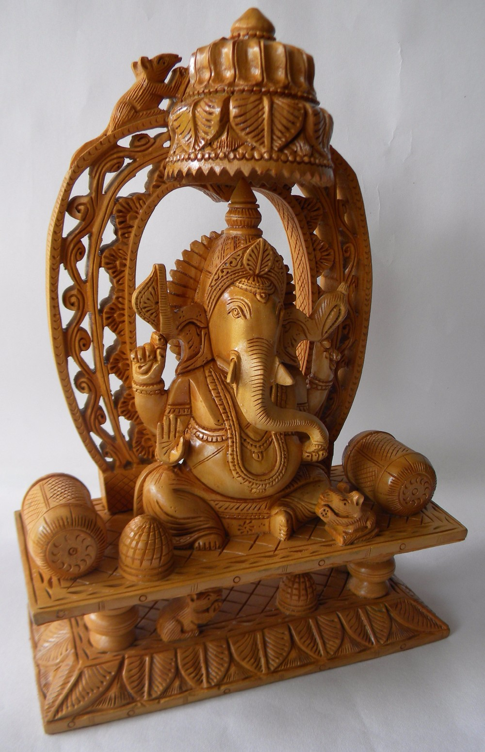 Super fine hand carved indian wooden ganesha statue sculpture of