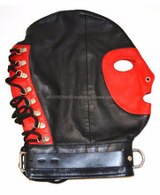 NEW 2015 BLACK BONDAGE FULL FACE MASK WITH RINGS AND BUCKLES SOFT LEATHER MATERIAL