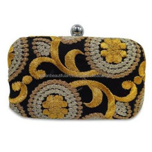 Fashionable Black Evening Party Wallet Floral Embroidered Handmade Box Clutch