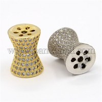 CZ Jewelry Brass Micro Pave Cubic Zirconia Bicone Beads, Waist Drum, Mixed Color, 13x10mm, Hole: 1mm ZIRC-M024-08