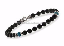 Scott Kay Men's Black Onyx and Apatite Bead Bracelet With Sterling Silver. 8.5/De Scott Kay Hombres Negro Onyx y apatita bolas p