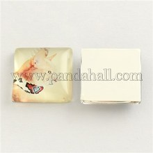 Cat Pattern Glass Square Cabochons, LightGoldenrodYellow, 25x25x5~6mm GGLA-S022-25mm-26B