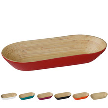 Spun bamboo boat tray, lacquer tray, multi color handicraft in Vietnam