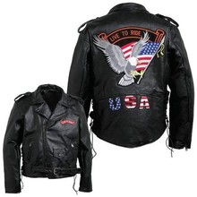 America USA Live to Ride Fashion Motorcycle Biker Jacket