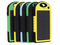Hot Selling Dual-USB Waterproof Solar charger 5000mah Power Bank portable Charger Travel External Battery For smartphone