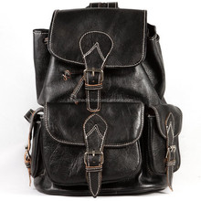moroccan black leather backpack handmade wholesaler 3pockets