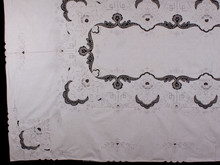 handmade embroidery table cloth Hot selling direct factory made cotton Ecru cotton table Cloths with Cluny Lace 72 x 144 inch