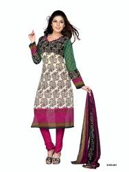 Variation Design Beige Art Crepe Printed Dress Material
