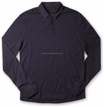 100% Cotton Jersey mens long sleeve Custom polo t shirt in navy blue