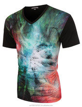 Mens Hip Hop Short Sleeve Galaxy Universe Pattern T Shirt (MADE IN USA)
