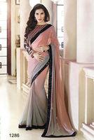 Exclusive Grey and peach weightless bridal saree/black sequinned bordered heavy designer saree/designer wedding bridal saree