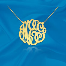 Gold Monogram Necklace - 1 inch Handcrafted Designer - 24K Gold Plated Sterling Silver - Personalized Initial Necklace