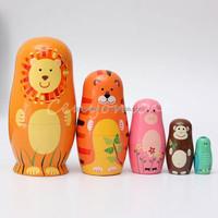 Set of 5 Cute Wooden Nesting Dolls Matryoshka Animal Russian Doll Home decoration,Wood crafts,Birthday gifts,Christmas ornament