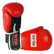 Boxing Gloves Cowhide leather Training Boxer Fight Punching Gloves Top Ten style gloves Red Buyer logo