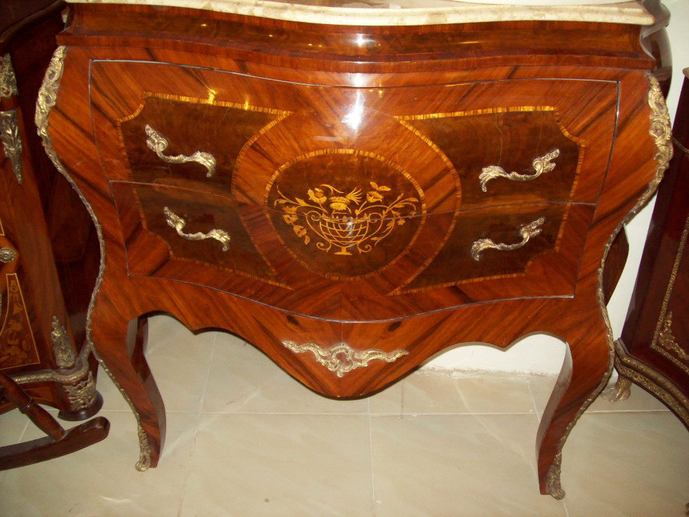 Antique wooden commode rococo style louis furniture marble for Rococo style furniture