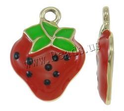 16x22x3mm Strawberry Zinc Alloy Fruit Shape Pendants