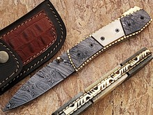 Damascus Steel Folding Knife by York Vivant Company YV-NA3 Camel Bone, Damascus & Hand Work of Brass on Handle