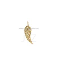 18k Yellow Gold Pave Diamond Charm Angel Wing Fashion Pendant Wholesale Diamond Charms Pendants