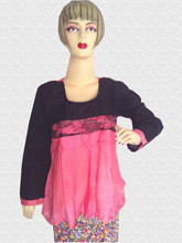 2015 New Style Fashionable Ladies Blouse Top / Pink Black Color / Sizes S-5XL