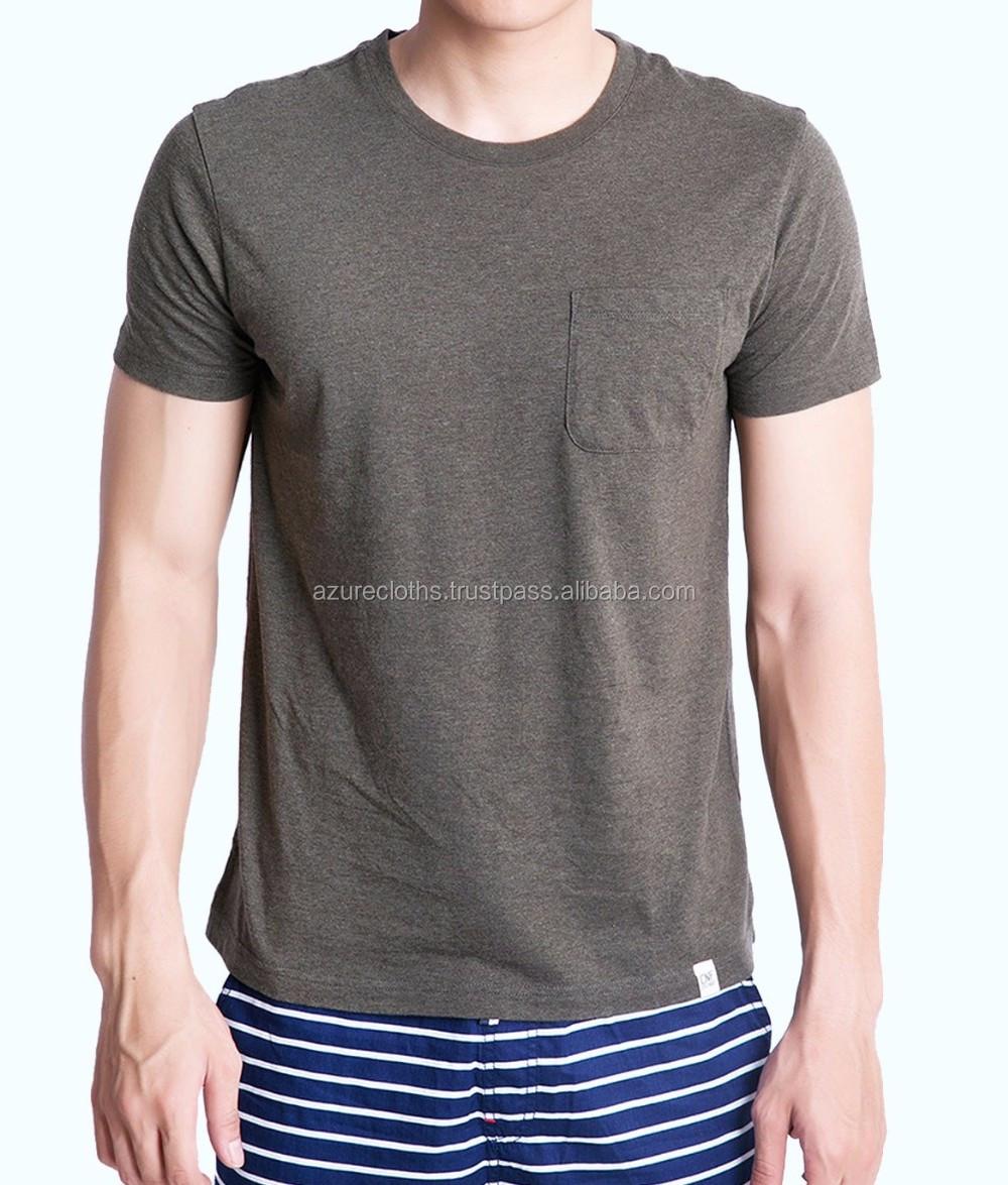 100% algodão t-shirt/T Camisa Com Bolso