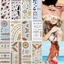 Temporary Metallic Tattoo Gold Silver Flash Tattoos Inspired Body Makeup Sticker