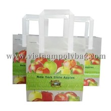 Multicolor virgin printed plastic tri fold handle shopping bag
