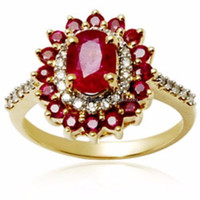 14K HALLMARK GOLD RING 0.94 CTS NATURAL CERTIFIED DIAMOND & 5 CTS RUBY