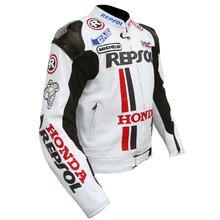 Erkek repsol honda motogp 2015 deri motosiklet yarış ceket, tüm boyutları