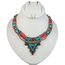 Turquoise Stone Silver Tone Reversable Necklace Nepal Fashion & Party Wear Jewelry For Her -ANS5206