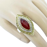 Ethnic Two Tone Ruby AD Stone Women Ring Traditional Indian Women Jewelry 9*5 - KR898A