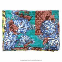 Indian vintage kantha quilt MYSTIC BLUE