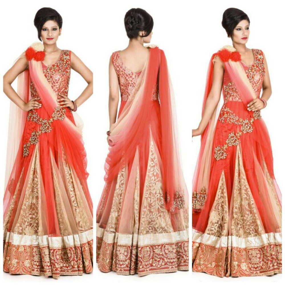 Indian Party Wear Designer Wholesale Pink Golden Orange Evening ...