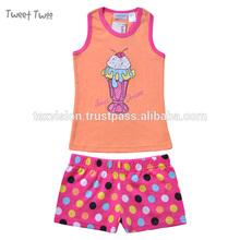 Ice - cream Printted manches coton filles élégant turque pyjamas
