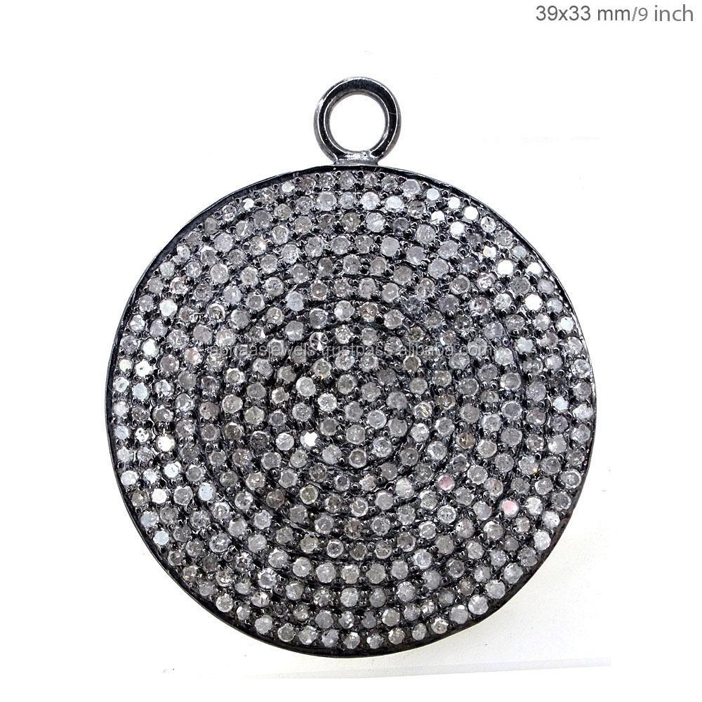925 sterling silver chain natural diamond padlock charm pendant disc pendants aloadofball Images
